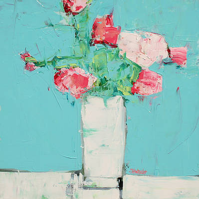 Scottish Artist Alison McWHIRTER - Peonies against Cyan Blue