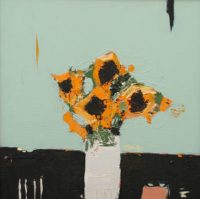 Scottish Artist Alison McWHIRTER - Sunflowers against Duck Egg Blue