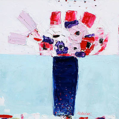 Scottish Artist Alison McWHIRTER - Anenomes in a Blue Jar