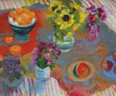 Scottish Artist Alma WOLFSON - Sunflowers Still Life