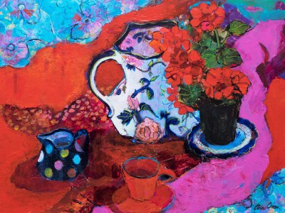 Ann ORAM - Geranium Still Life on Reds and Pinks