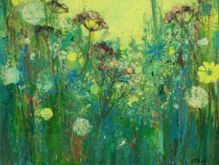 Ann ORAM - Seed Heads With Yellow Sky