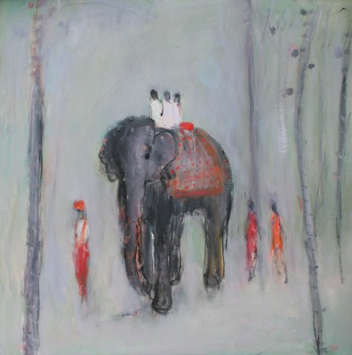 'Walking with the Elephant' painting