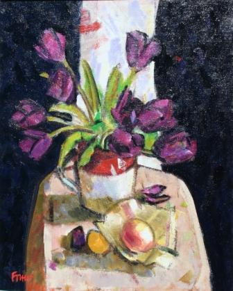 Scottish Artist Archie FORREST - Burgundy Tulips with Exotic Fruit