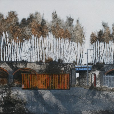 Orange Container, Blue Bridge painting by artist Cate INGLIS