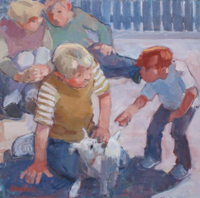 Boys and a Wee White Dog painting by artist Catriona CAMPBELL