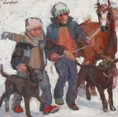 Scottish Artist Catriona CAMPBELL - A Man, a Boy, Two Dogs and a Pony
