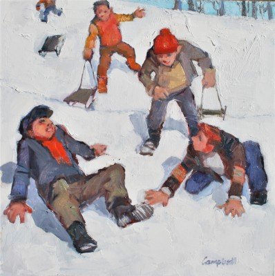 Scottish Artist Catriona CAMPBELL - Boys Sledging