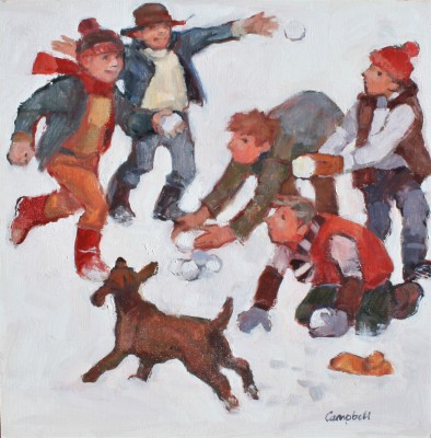Scottish Artist Catriona CAMPBELL - Big Snowball Fight