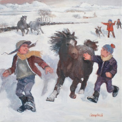Scottish Artist Catriona CAMPBELL - Pony Racing in the Snow