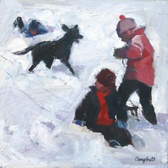 Scottish Artist Catriona CAMPBELL - Black Labrador goes Sledging