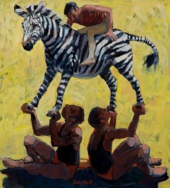 Scottish Artist Catriona CAMPBELL - Balancing a Zebra