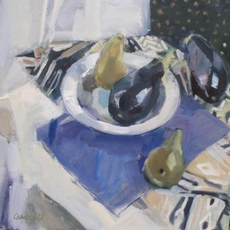 Scottish Artist Catriona CAMPBELL - Still Life with Aubergines