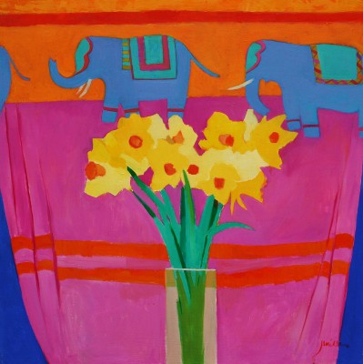 Scottish Artist Charles JAMIESON - Daffodils & Elephants
