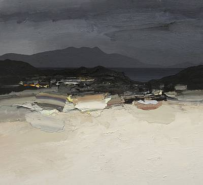 Scottish Artist Chris BUSHE - White Beach - Storm Clouds over Rum