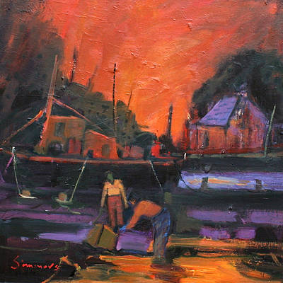 Scottish Artist Connie SIMMERS - Evening Arrival at Quay