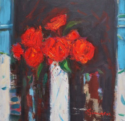 Roses are Red painting by artist Connie SIMMERS