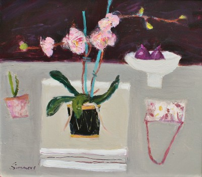 Pink Orchid and Evening Bag painting by artist Connie SIMMERS