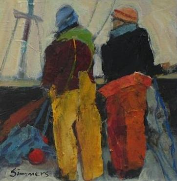Scottish Artist Connie SIMMERS - Bringing in the Nets