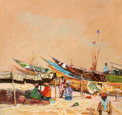 Scottish Artist Connie SIMMERS - Working on the Boats, West Africa