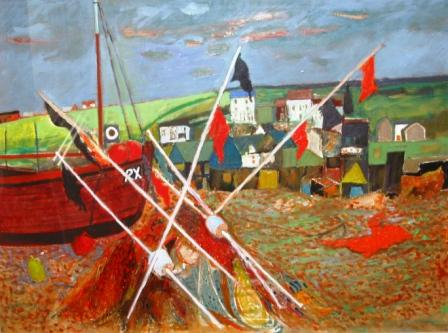 Scottish Artist David M MARTIN - Boats On Beach