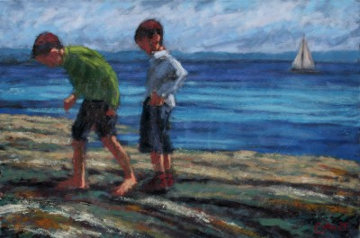 Two Boys and a Sailing Boat painting by artist Damian CALLAN