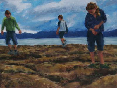 Scottish Artist Damian CALLAN - Children on the Rocks