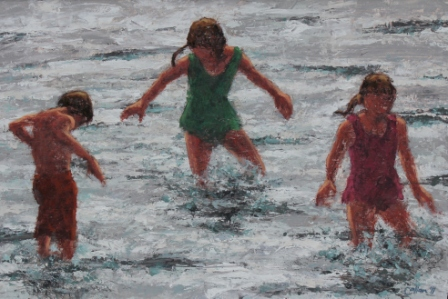 Scottish Artist Damian CALLAN - Three Children in the Water