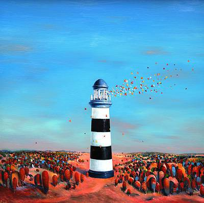 Scottish Artist David SCHOFIELD - Lighthouse on the Edge of Summer
