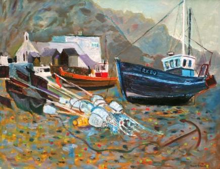 Scottish Artist David M MARTIN - Boats and Markers, Hastings