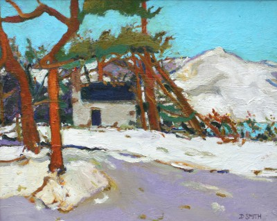 Scottish Artist David SMITH - Winter Bothy and Pines