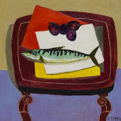 Scottish Artist David SMITH - Mackerel and Fruit