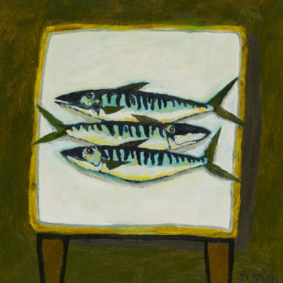 Mackerel on a White Table painting by artist David SMITH