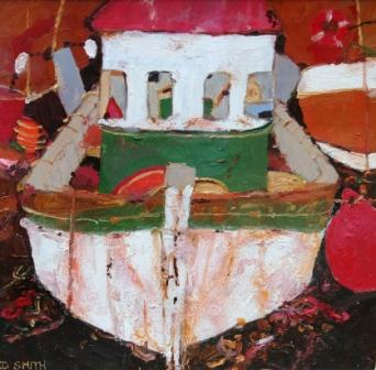 Scottish Artist David SMITH - The Prawn Boat, Eyemouth Harbour