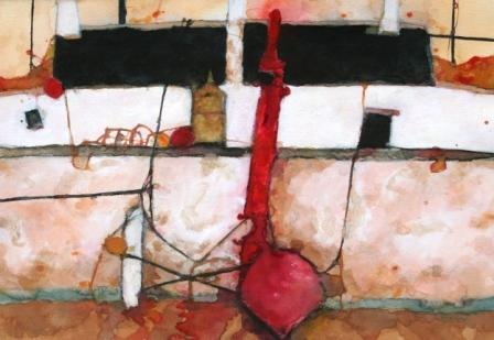 Scottish Artist David SMITH - Tarbert Bothy with Red Markers and Buoys