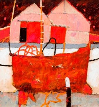 Scottish Artist David SMITH - Rusted Trawler and Boat Yard