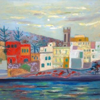 Scottish Artist David M MARTIN - Houses in Malta