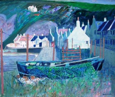 Scottish Artist David M MARTIN - Houses and Boats Pennan
