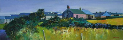 Scottish Artist Davy BROWN - Cottage with Gorse Bushes