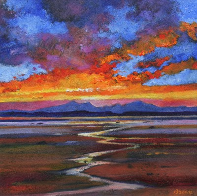 Scottish Artist Davy BROWN - Red Sunset over Arran