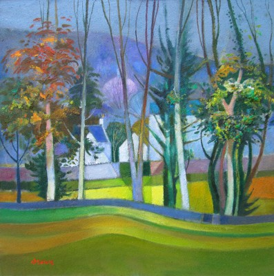 Scottish Artist Davy BROWN - Old Village through the Trees