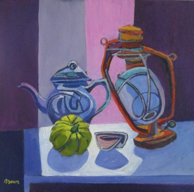 Scottish Artist Davy BROWN - Still Life with Teapot and Lamp