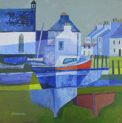 Scottish Artist Davy BROWN - Boats by the Church