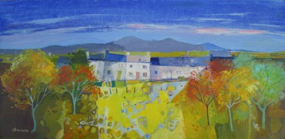 Scottish Artist Davy BROWN - Row of Cottages