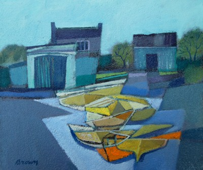 Scottish Artist Davy BROWN - Yellow Boats on the Slipway