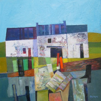 Scottish Artist Davy BROWN - Farm Buildings