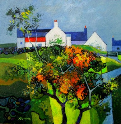 Scottish Artist Davy BROWN - Farmhouse with Gorse