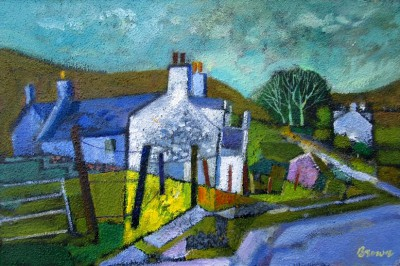 Scottish Artist Davy BROWN - Cottages on Skye