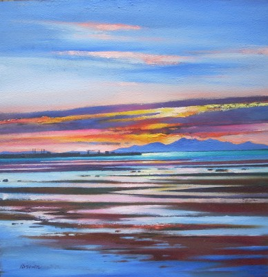 Arran from Troon painting by artist Davy BROWN
