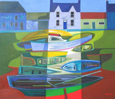 Scottish Artist Davy BROWN - Boats at Rest
